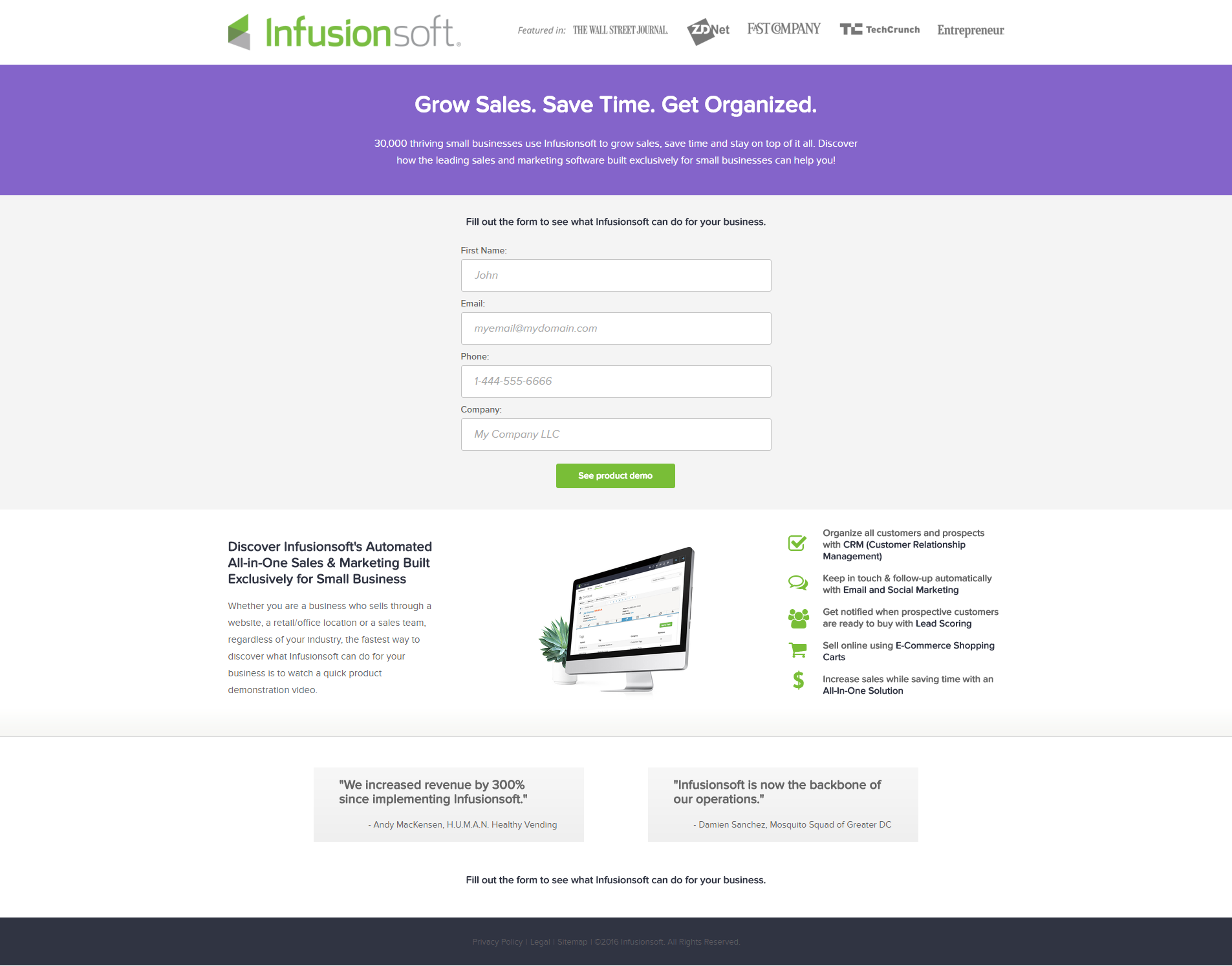 Infusionsoft landing page design