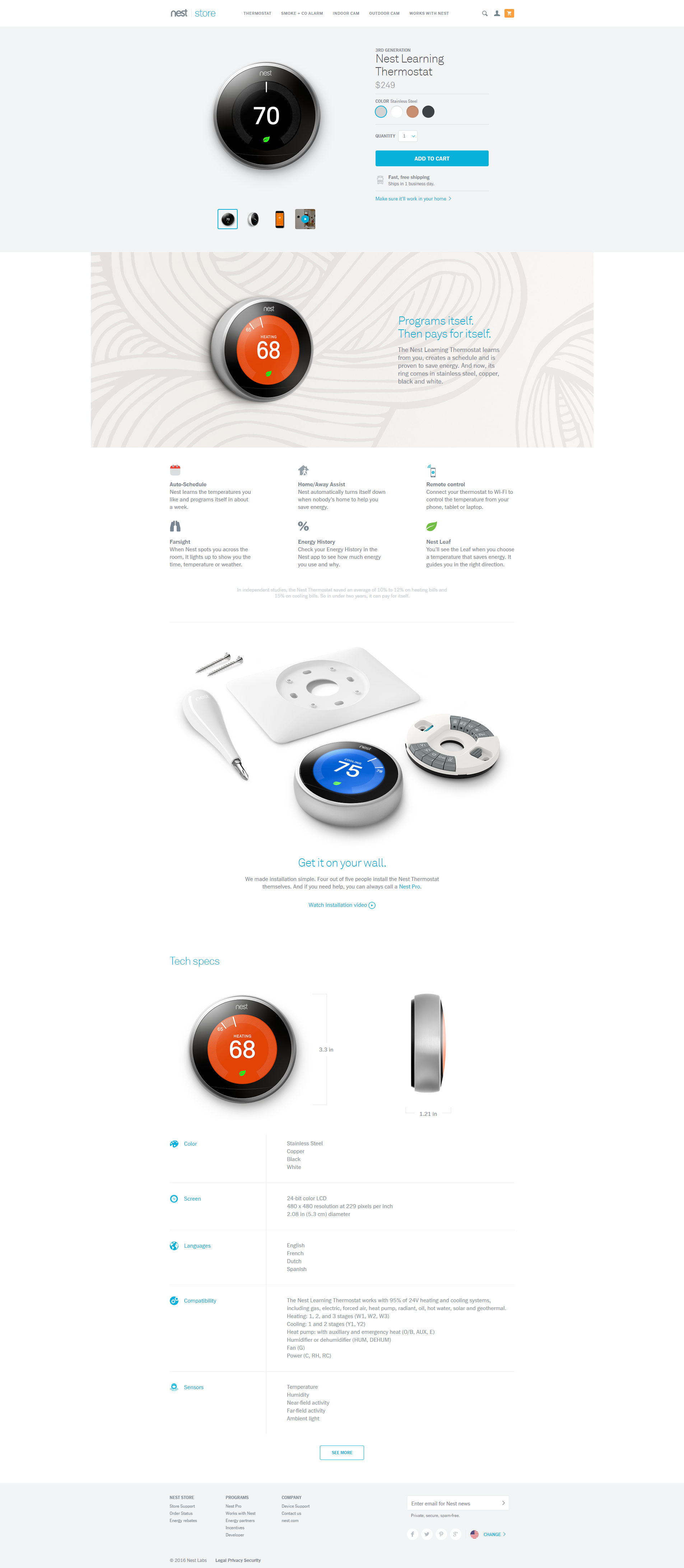 Nest Thermostat landing page design