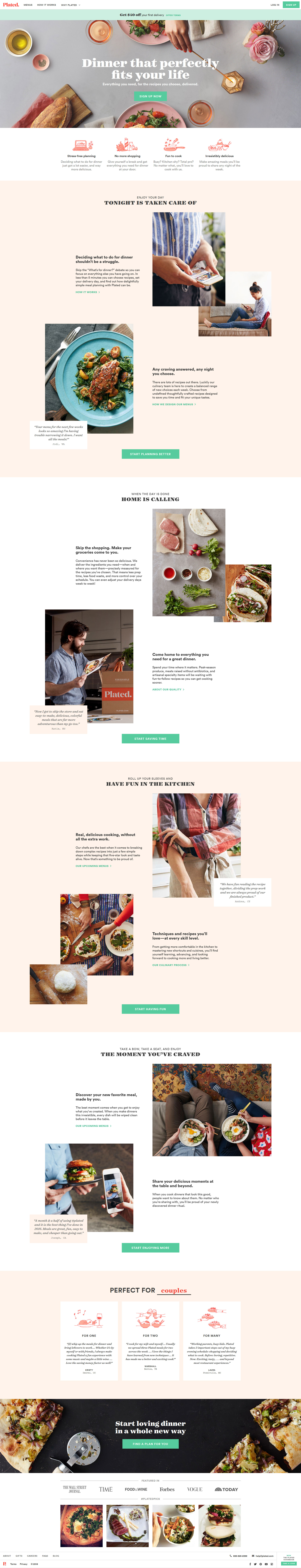 Plated landing page design